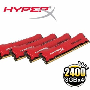 HyperX SAVAGE DDR3-2400 32GB(8GBx4)桌上型超頻記憶體 (HX324C11SRK4/32)