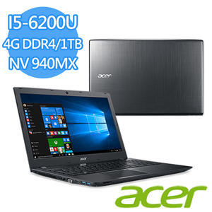 "Acer E5-575G-51CZ 15.6吋筆電 黑(I5-6200U/4G DDR4/1TB/NV 940MX DDR5  2G/15.6""FHD/Win10)"