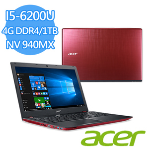 "Acer E5-575G-530T 15.6吋筆電 紅(I5-6200U/4G DDR4/1TB/NV 940MX DDR5  2G/15.6""FHD/Win10)"