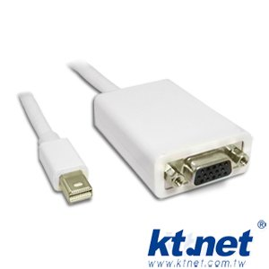 KTNET - mini DisplayPort(公) to VGA(母) adapter cable 轉接線-15cm