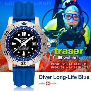 Traser Diver Long-Life Blue 潛水錶(Limited Edition)(#102364藍 . #102365黑)