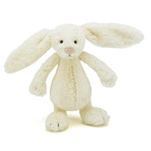 [ 英國 JELLYCAT ] 經典兔子 BASHFUL BUNNY, CREAM 白, 18CM