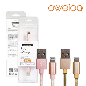 Oweida Apple iPhone Lightning MFI充電傳輸編織線 18cm