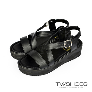 TW Shoes一字交叉繫踝厚底涼鞋-黑