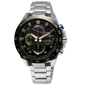 CASIO 卡西歐 / EFR-540RB-1A / EDIFICE x Infiniti x Red Bull Racing聯名款三環不鏽鋼腕錶 黑x金