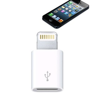 Apple iPhone6/5/iPad Air/4/mini Lightning 8pin to MicroUSB 轉接器 白