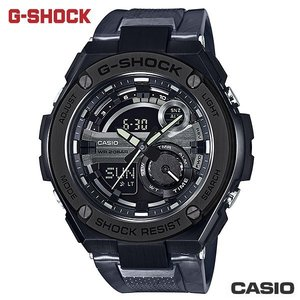 CASIO GST-210M-1A《G-SHOCK G-STEEL金屬款》52mm/黑鋼x石紋膠帶