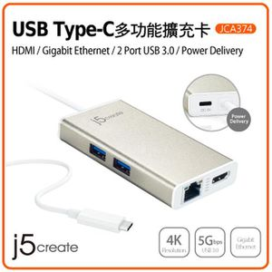 j5create USB Type-C多功能擴充卡 (JCA374)