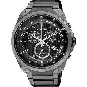 CITIZEN Eco-Drive 專屬型男計時腕錶-IP黑/44mm AT2155-58E