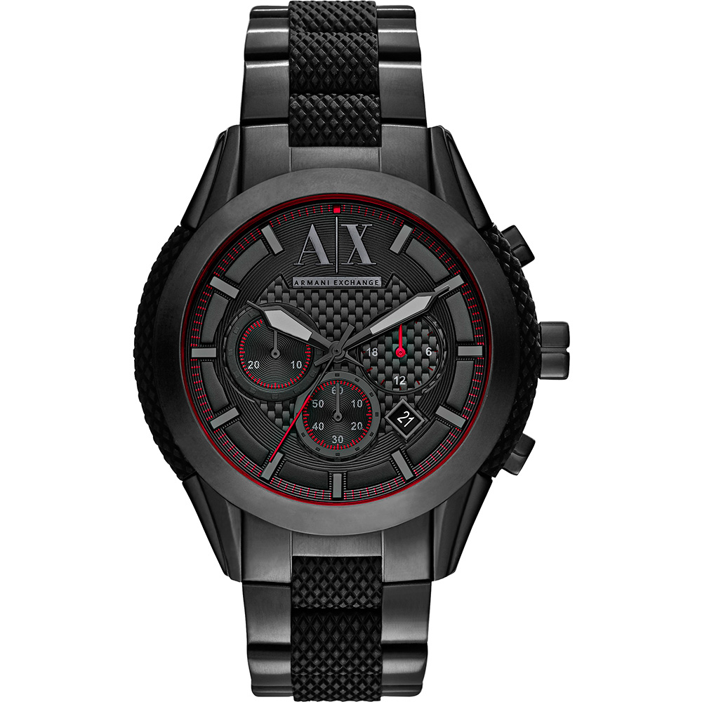 AX Armani Exchange Active探險運動計時腕錶-黑/48mm AX1387