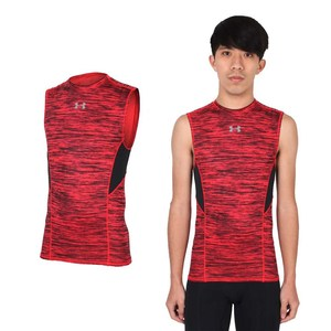 UNDER ARMOUR UA COM HG COOLSWITCH男無袖緊身衣 條紋紅黑