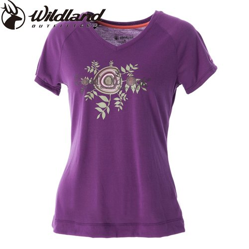 【荒野wildland】女 V領涼感印花抗 UV 排汗上衣 葡萄紫色 PRINTING COTTON ANTI-UV TEE
