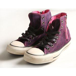 (女)Converse Chuck Taylor All Star Side Zip HI 高筒莓紅豹紋拉鍊-1132W170085