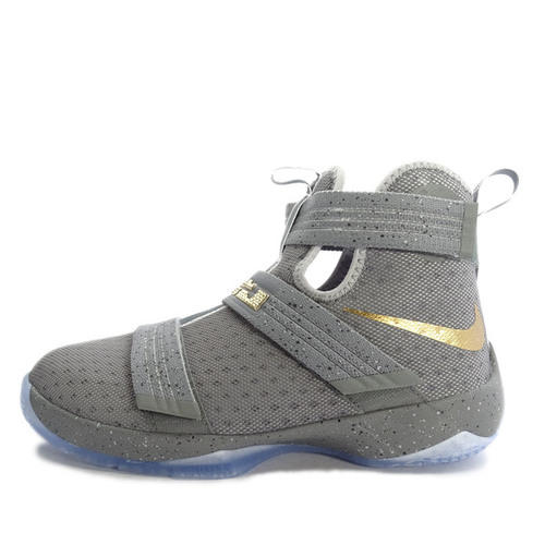 Nike Lebron Soldier 10 GS [845121-010] Basketball Cool Grey/Gold 灰 金